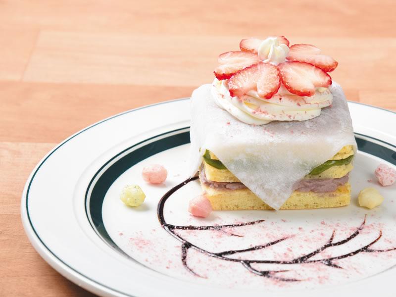 抹茶とあんこの和風パンケーキ~さくら風味~