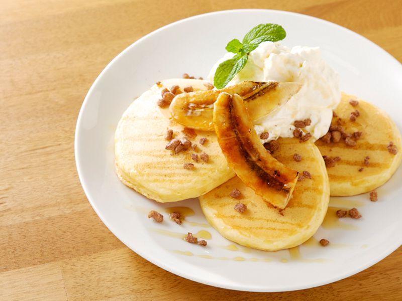 キャラメリゼバナナのパンケーキ